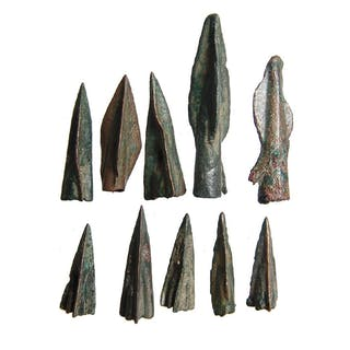 A group of 10 ancient bronze arrowheads