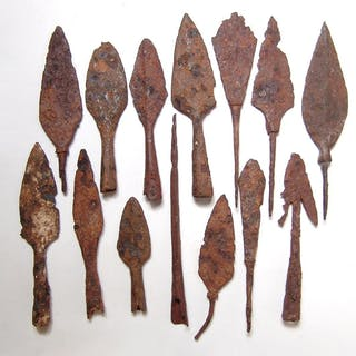 15 Chinese iron weapon blades and tools, Liao to Qing