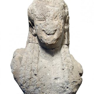 Fantastic, large Archaic Greek stone head of Kouros