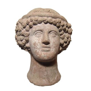 Fabulous Etruscan terracotta head of a young woman
