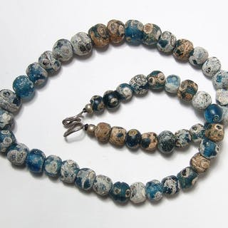Beautiful strand of Roman blue glass 'eye' beads
