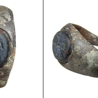 A Roman bronze ring with original ring-stone