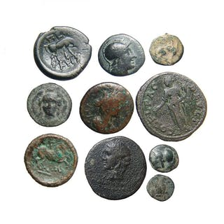 A lot of 10 ancient Greek and Roman bronze coins