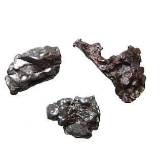 A group of 3 iron meteorite specimens, Campo del Cielo