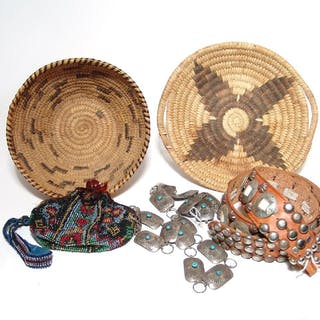 A mixed group of Native American objects