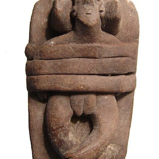 Cute Colima votive depicting woman strapped to a bed