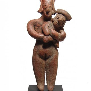 A charming Colima mother and child figure