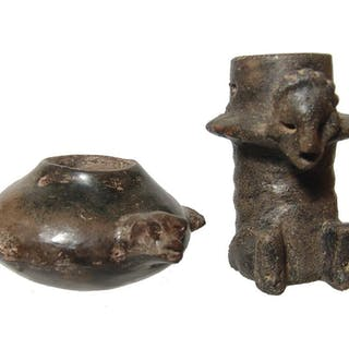 A pair of nice Colima black-ware effigy vessels
