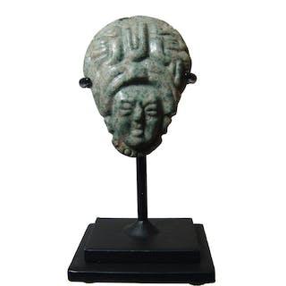 A beautiful Mayan jade head pendant