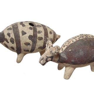 A pair of cute little Chancay ceramic llamas