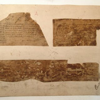 Incredibly rare set of 9 Book of Dead linen fragments