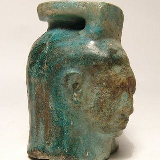 Egyptian turquoise glazed composition aryballos