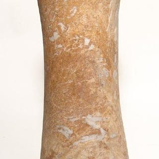 A large red-white Bactrian marble column idol