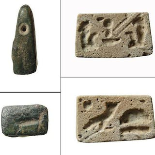 Egyptian faience plaque & Near Eastern bronze stamp