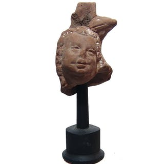 Romano-Egyptian terracotta head of Harpokrates