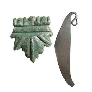Roman bronze leaf-shaped applique & Bronze Age razor