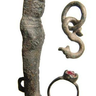 Roman bronze latch, zoomorphic hook, & Medieval ring