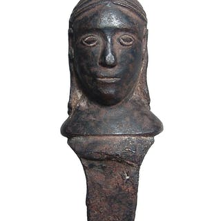 Bronze applique or stopper in the form of a male head