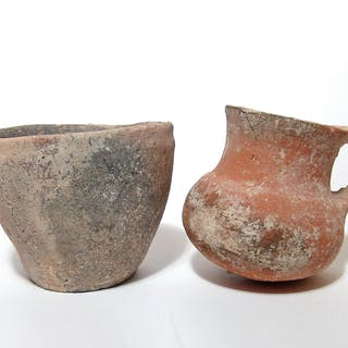 Pair of ancient ceramic vessels from the Holy Land
