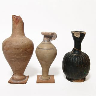 A group of three ancient Greek vessels