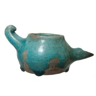 An attractive Islamic glazed spouted oil lamp