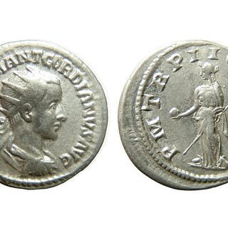 A Roman silver coin of Gordian III, Imperial Rome
