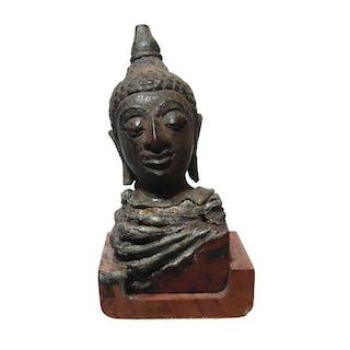 A bronze head of Buddha, Thailand