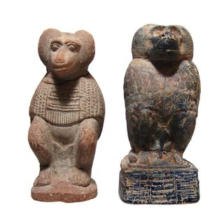 Egyptian ancient-style reproductions of seated baboons