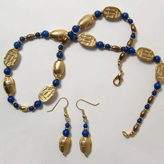Beautiful modern Egyptian gold and lapis jewelry set