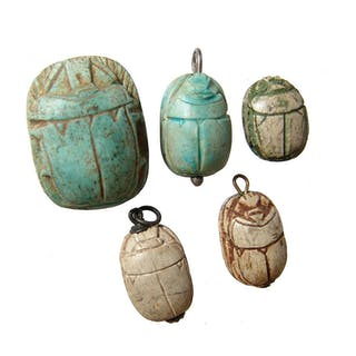 A group of 5 reproduction glazed scarabs