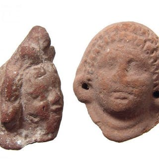 A pair of nice Egyptian terracotta heads, Roman Period