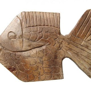 Carved stone fish in ancient Egyptian style, mid-20th C