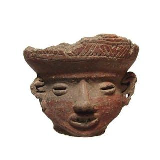 A Tarascan ceramic rattle head vessel, Mexico