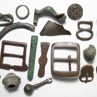 Mixed group of bronze and lead objects, Roman-Medieval