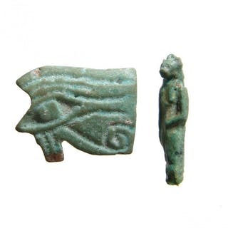 A pair of Egyptian amulets, Late Period