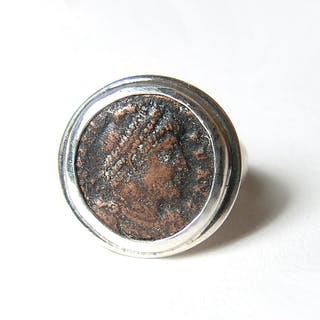 Roman bronze coin set in silver ring