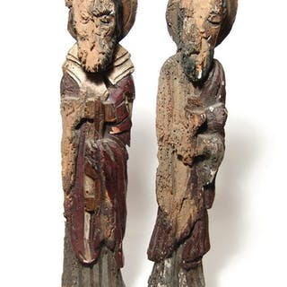 A pair of Colonial Mexican wood Santos figures