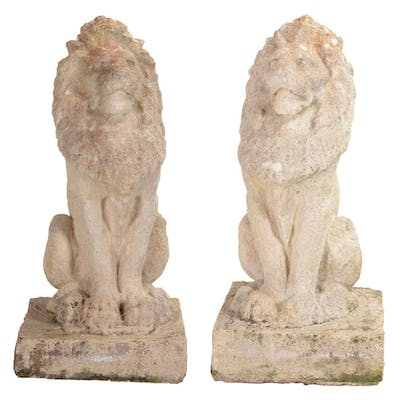 Pair of English Baroque Style Seated Lions.