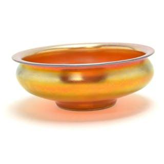 Steuben Carder Aurene Glass Centerpiece Bowl.