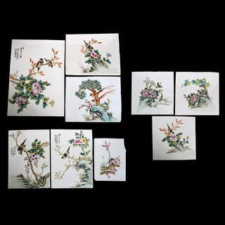 Nine Chinese Famille Rose Porcelain Plaques