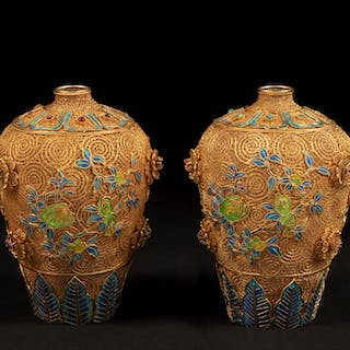 Pair of Chinese Silver and Enamel Vases.