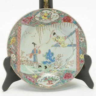 Chinese 18th Century Export Famille Rose Figural Plate.