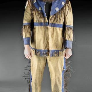 19th C. Comanche Fabric Men's Outfit w/ Hair & Felt