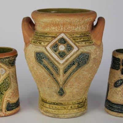 3 Roseville Pottery Mostique Vases