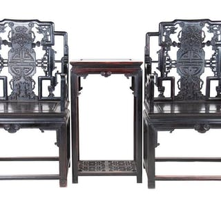 Pair Of Chinese Carved Hardwood Chairs Tea Table Cur S Barnebys