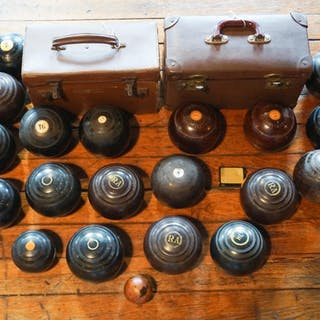 Collection Antique English Turned Wood Bocce Balls