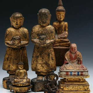 BUDDHIST AND OTHER CARVED AND GILDED WOOD FIGURES