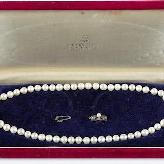 Mikimoto pearl necklace with sterling clasp.