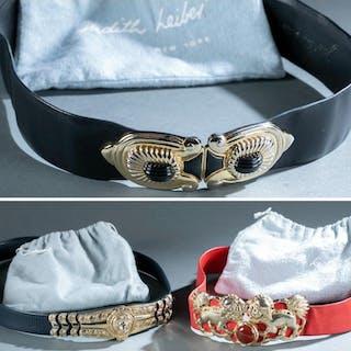 3 Judith Leiber, Adjustable Belts.