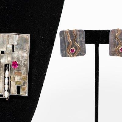 Lynda Thorp 2 PC Sterling Brooch & Earring Set